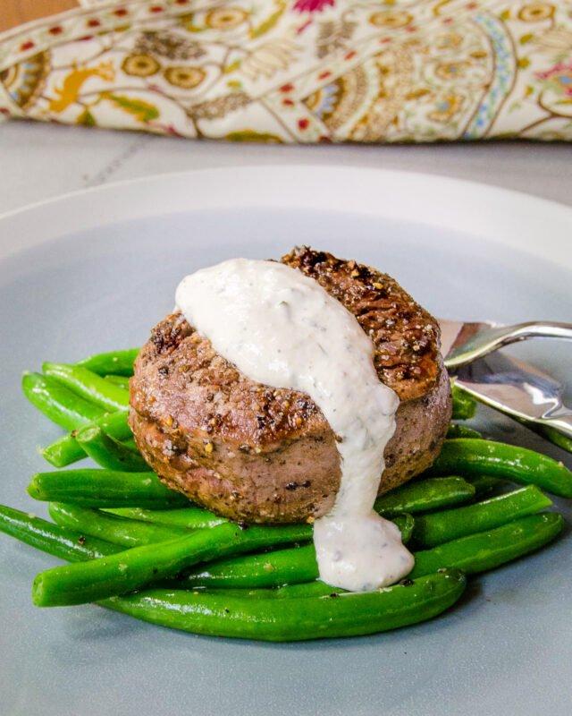 Salt and Pepper Filets Mignon with Horseradish Cream Sauce
