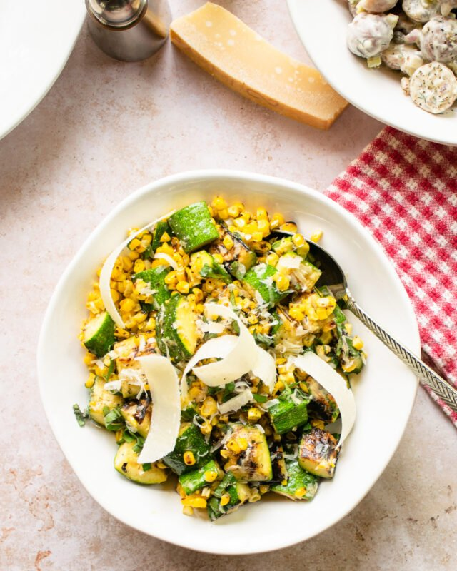 Grilled Parmesan Corn and Zucchini