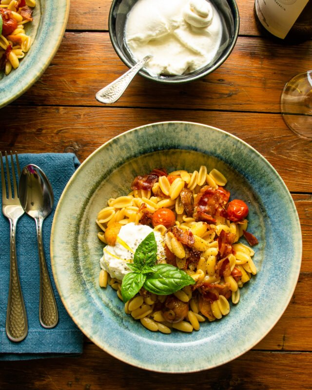 Cavatelli with Roasted Cherry Tomatoes, Pancetta and Burrata