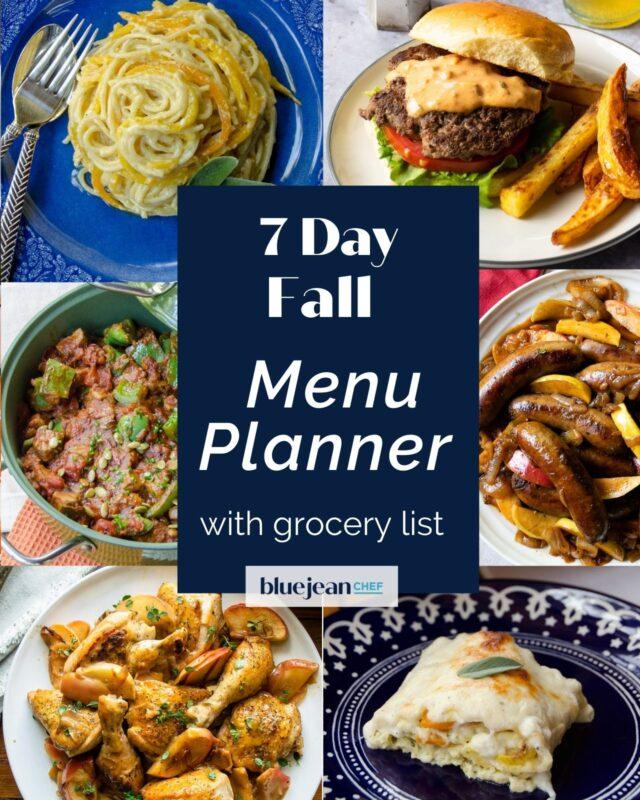 7-Day Menu Planner: Fall Menu