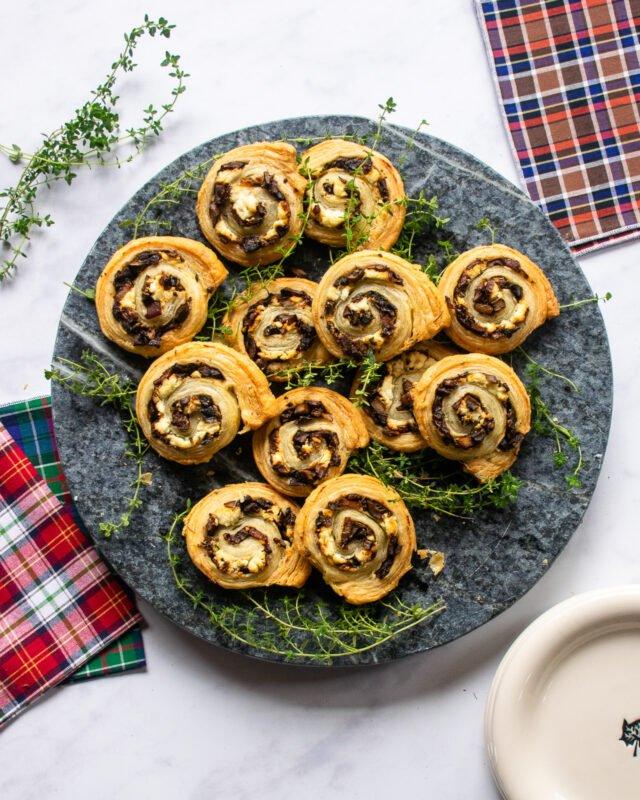 Mushroom Goat Cheese Pinwheels