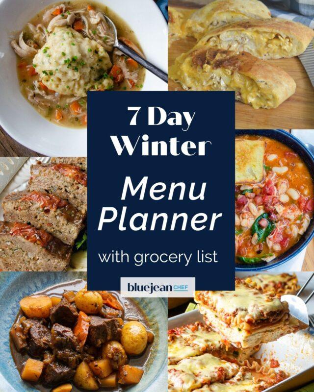 7 Day Menu Planner: Winter Menu