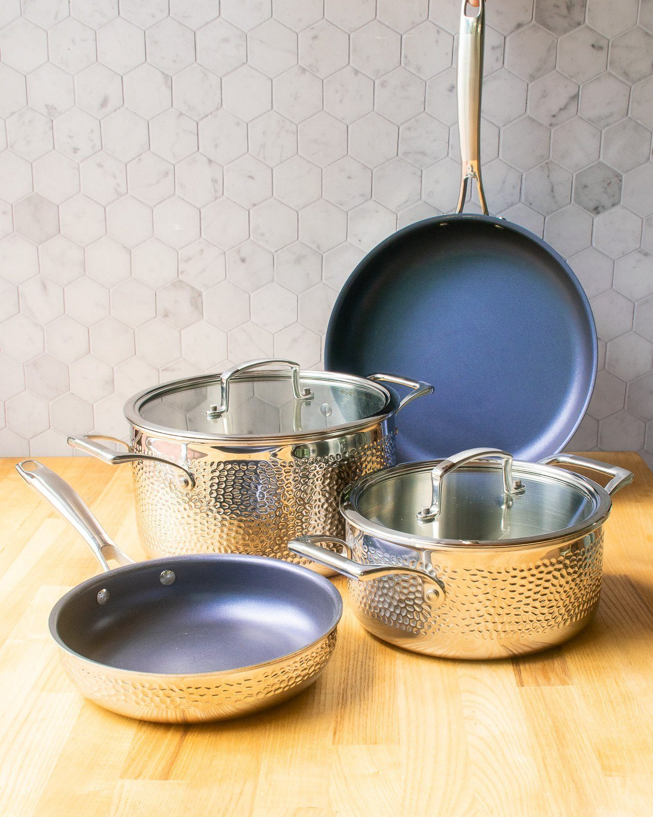 Blue Jean Chef® 6-piece Hammered Clad Cookware Set
